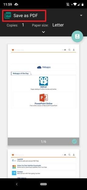 Seleção de impressora PDF