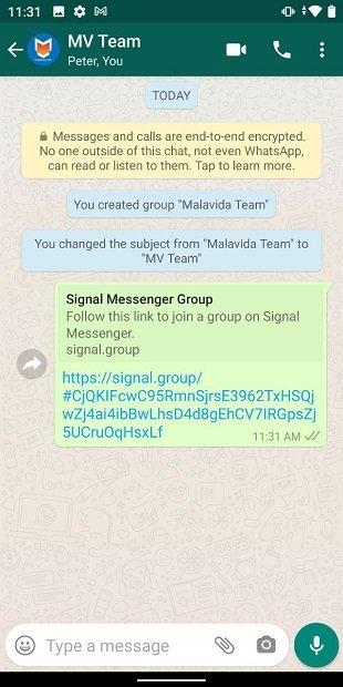 Link an die ursprüngliche Gruppe senden
