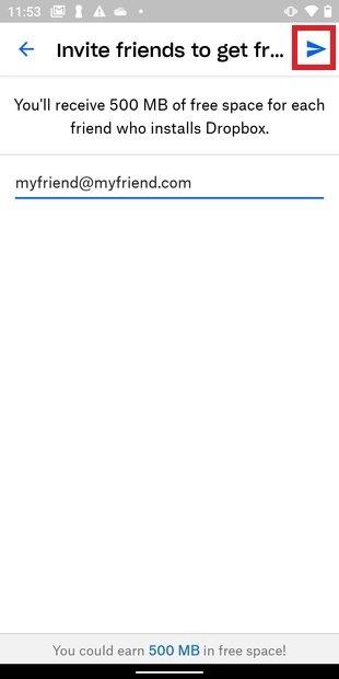 Enviar invitación para unirse a Dropbox