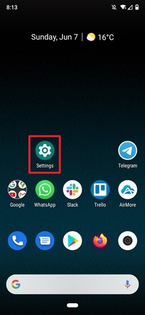 Settings on Android's desktop