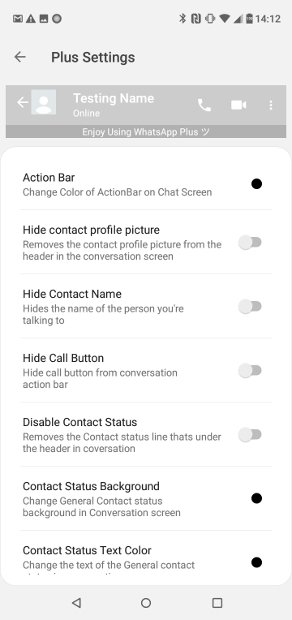 Settings section for Action Bar within chats