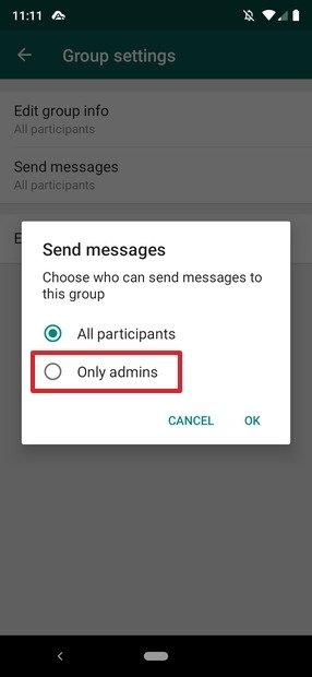 Ajustes de publicación de los mensajes