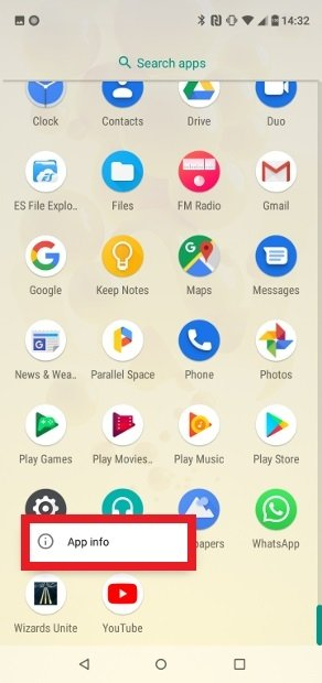 Shortcut to the menu of installed apps