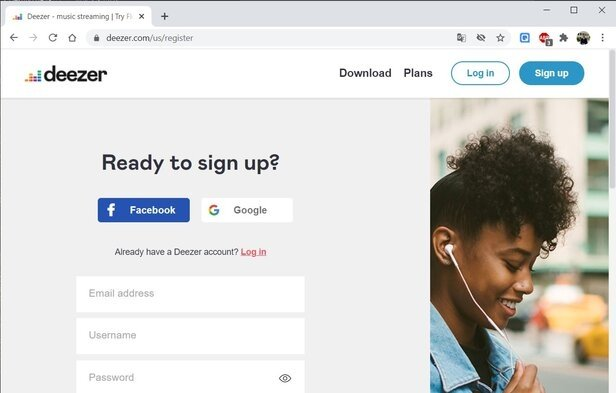 Sign up on Deezer