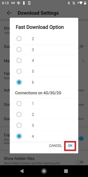 Conexiones simultáneas en Vidmate