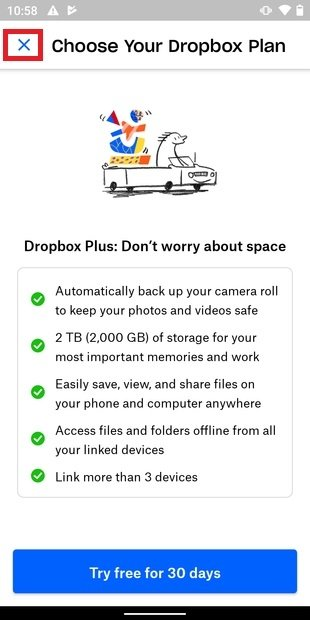 Omitir prueba gratuita del plan de pago de Dropbox