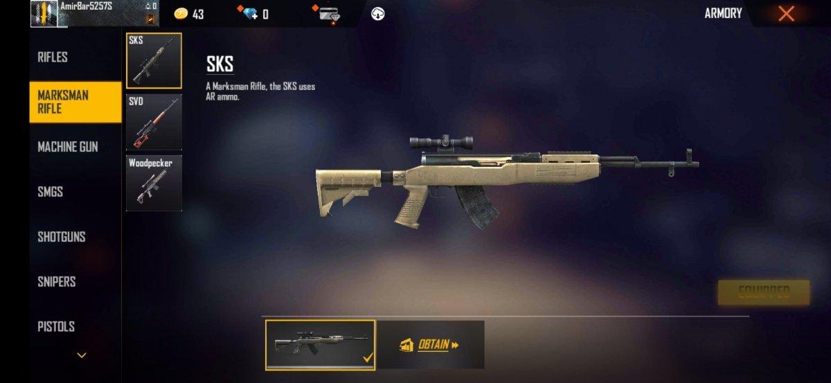 SKS, funciona como un rifle de tirador