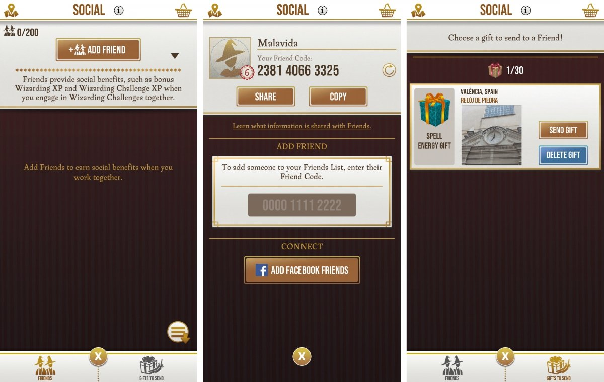 Social section to get in touch with friends and send gifts