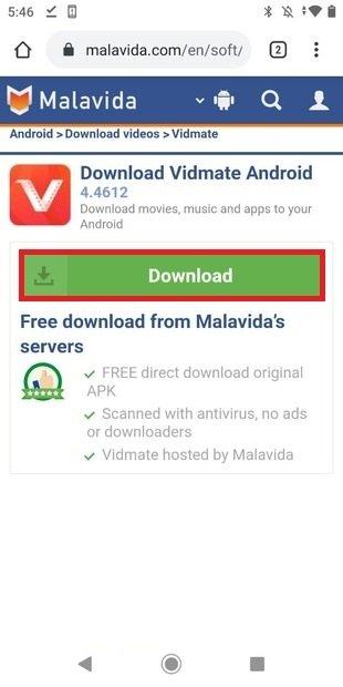 Lancer le téléchargement depuis Malavida