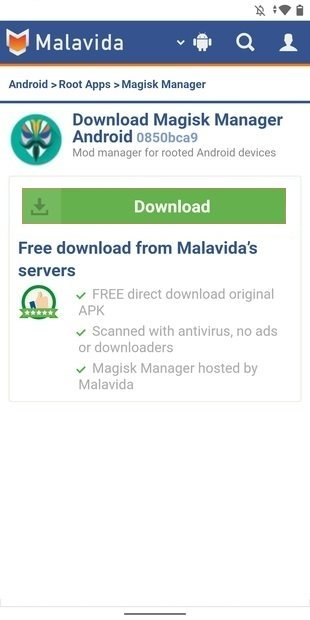 Start downloading Magisk Manager's APK