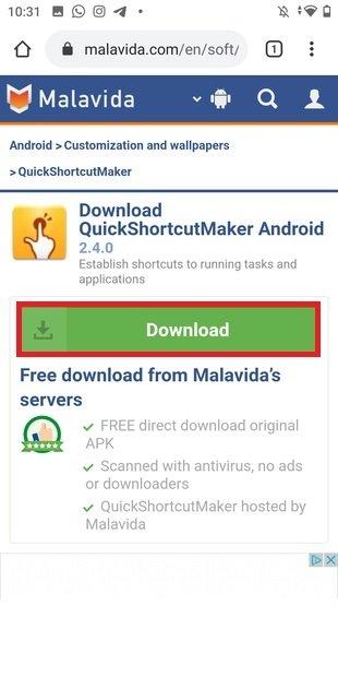 Avvia il download dell'ultima versione dell'app
