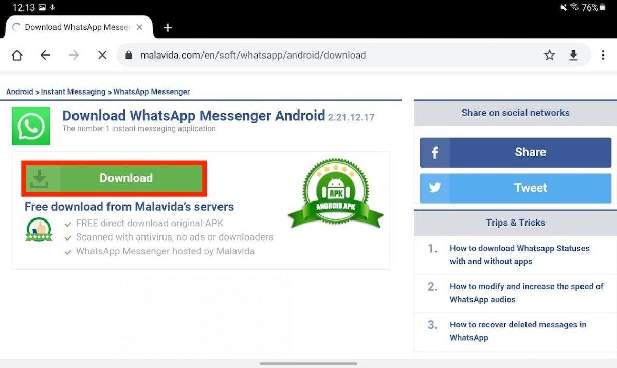 Lancer le téléchargement de WhatsApp