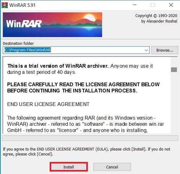 Start installing WinRAR