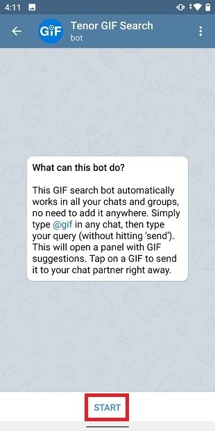 Starting a conversation with the bot