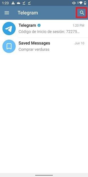 Starting a search in Telegram