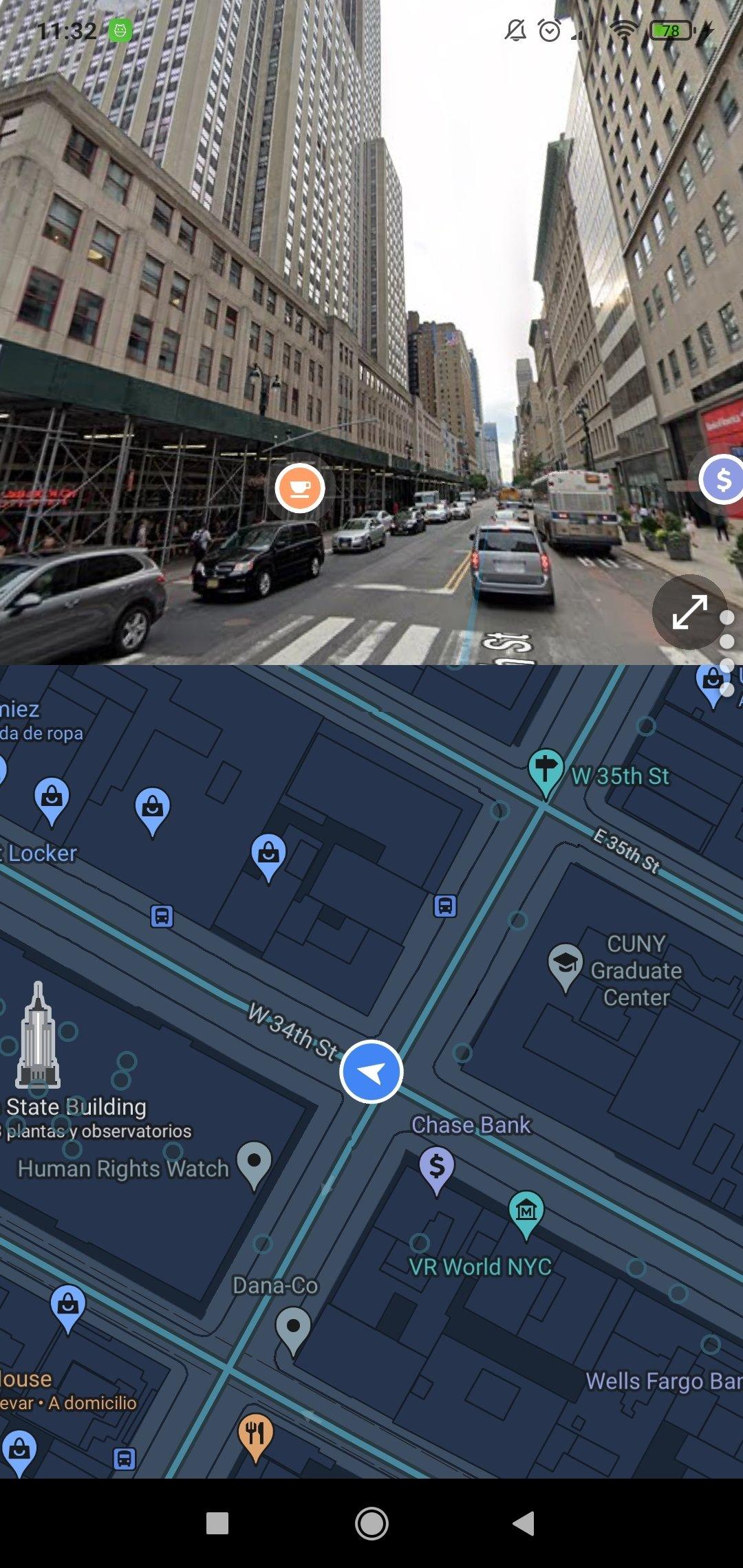 Se muestra la navegación a nivel de calle