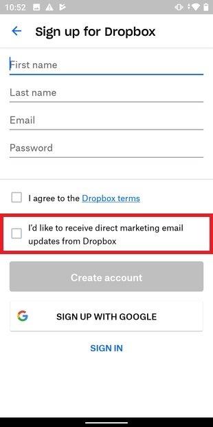 Suscribirse a correos de marketing