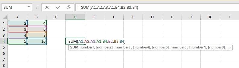 Suma de los rangos A1 a A4 y B1 a B4