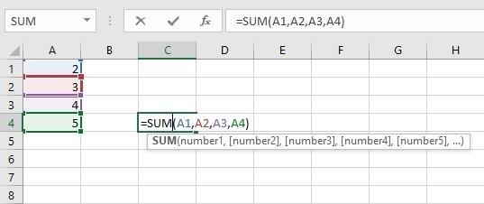 Suma de los valores de A1 a A4