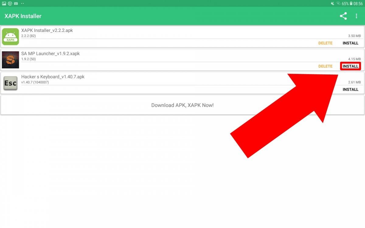 Toca en Install en la XAPK de SA-MP Launcher