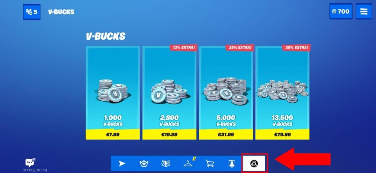 Nous cliquons sur l'icône des V-Bucks pour accéder au menu permettant d'acheter des V-Bucks