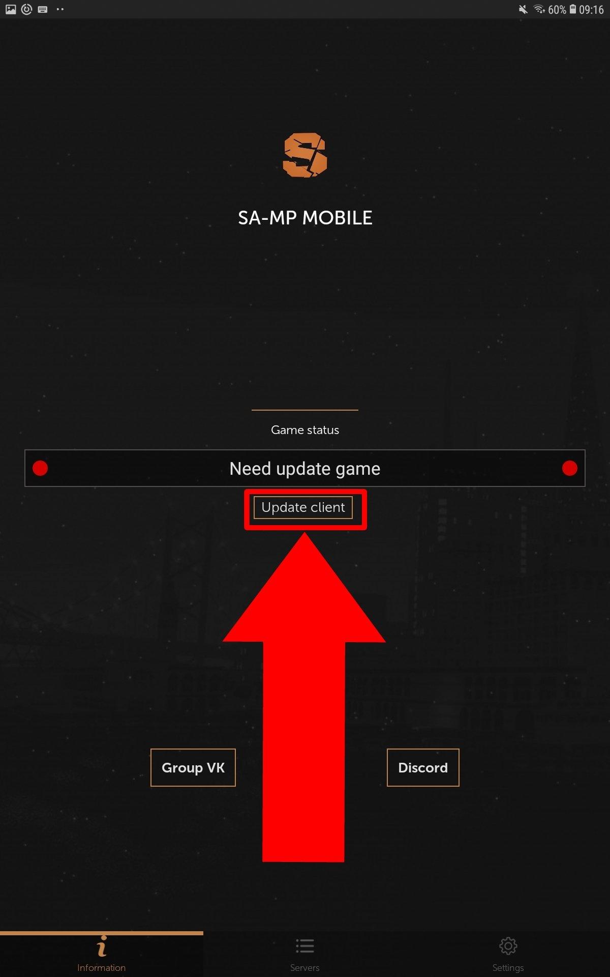 Toca en Update client para actualizar el software