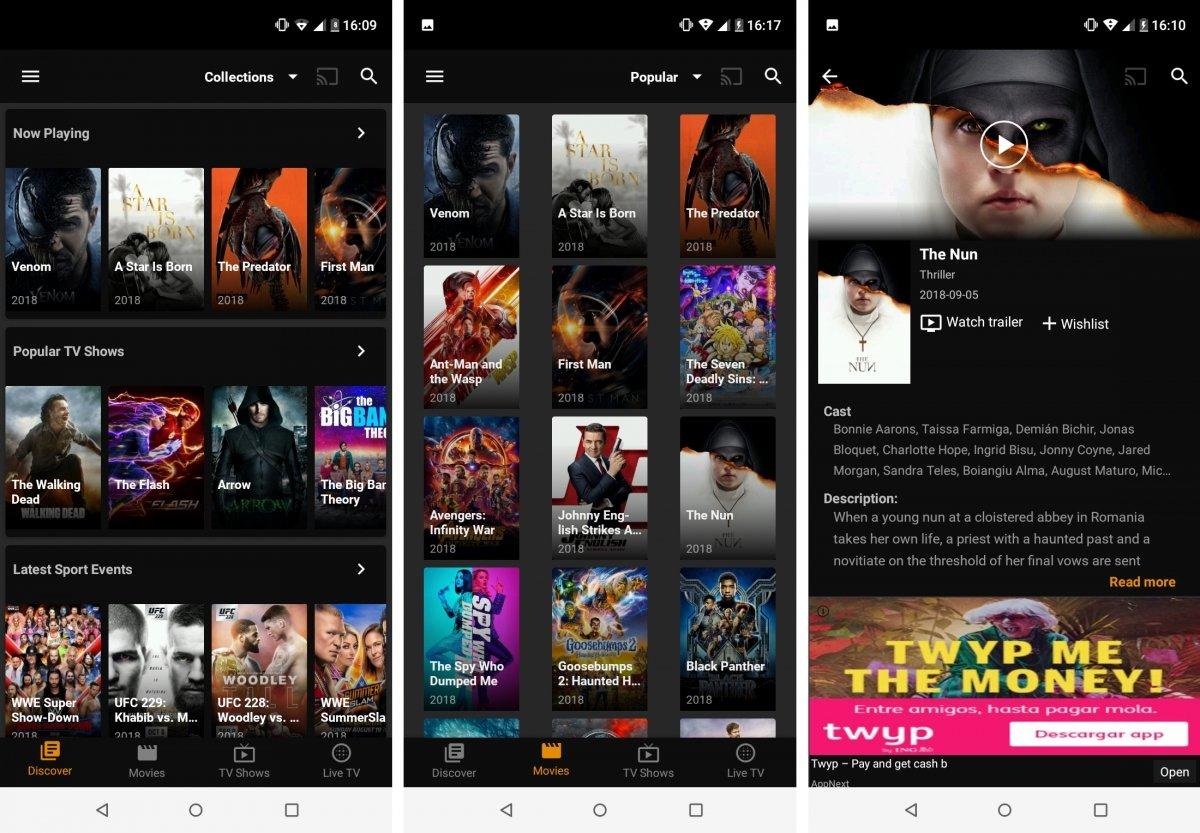 Tea TV es otra interesante apps con stremaings de vídeo