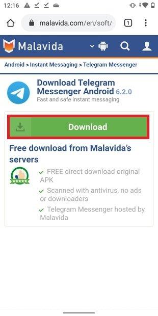 Página de descarga de Telegram en Malavida