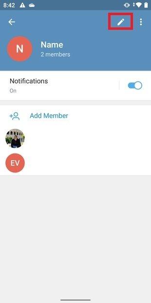 Opciones del grupo de Telegram