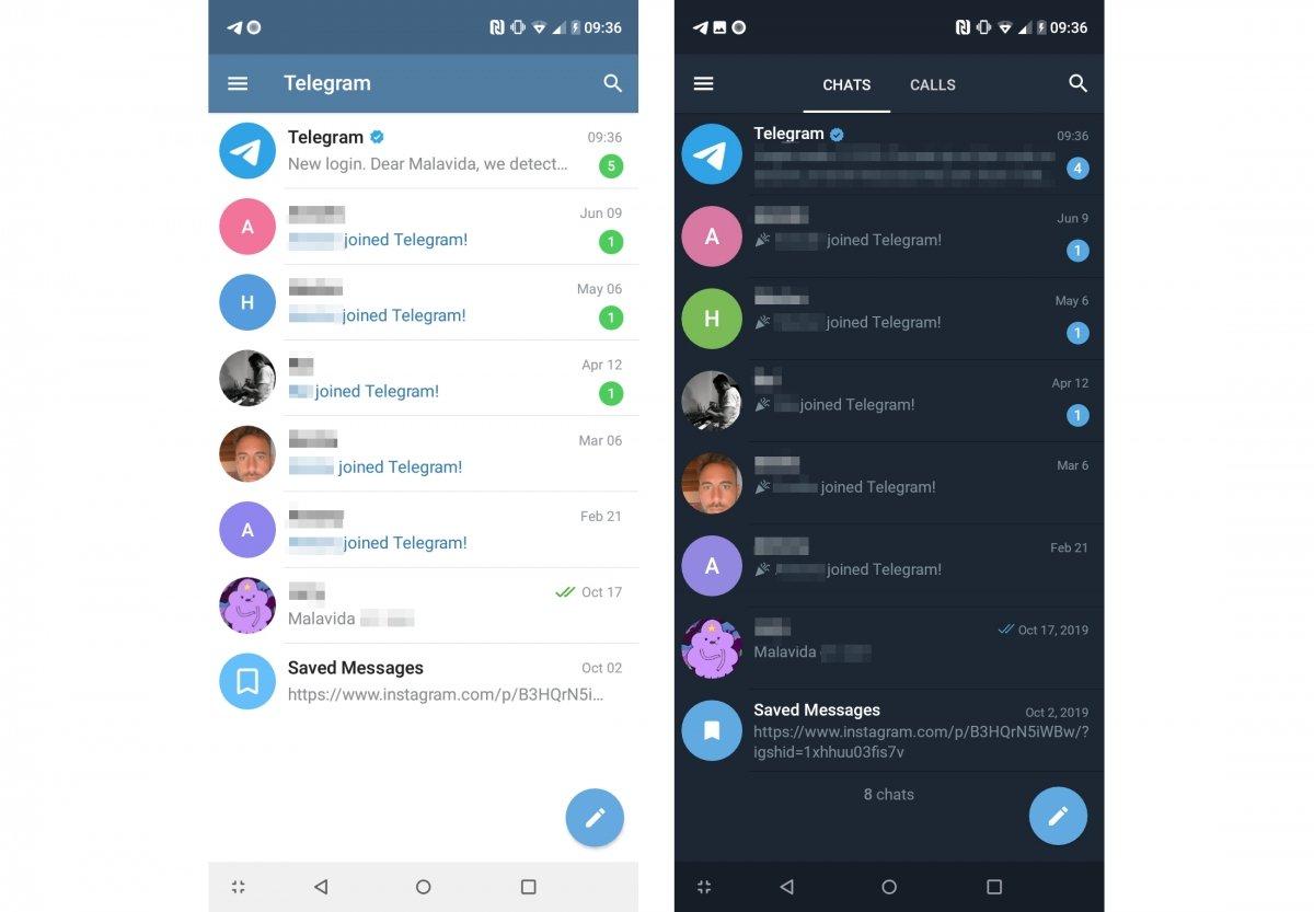 Interfaz de Telegram a la izquierda y Telegram X a la derecha