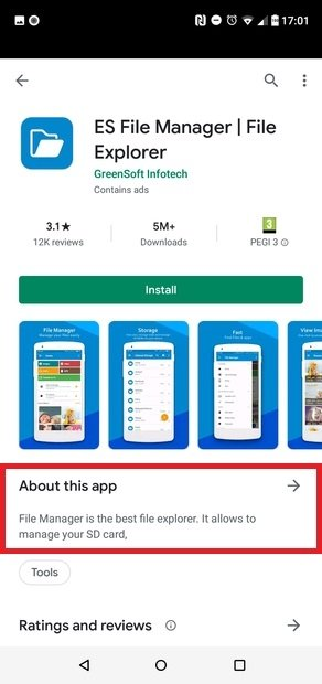 The app's info section