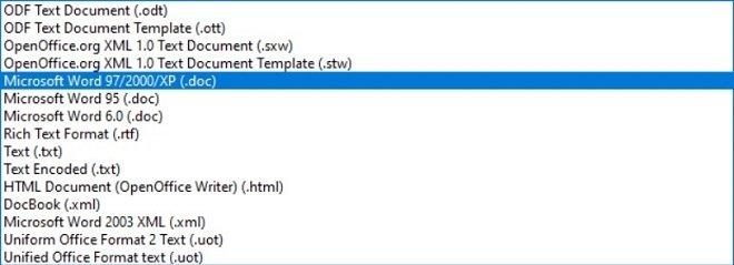 El formato DOCX en OpenOffice no está soportado