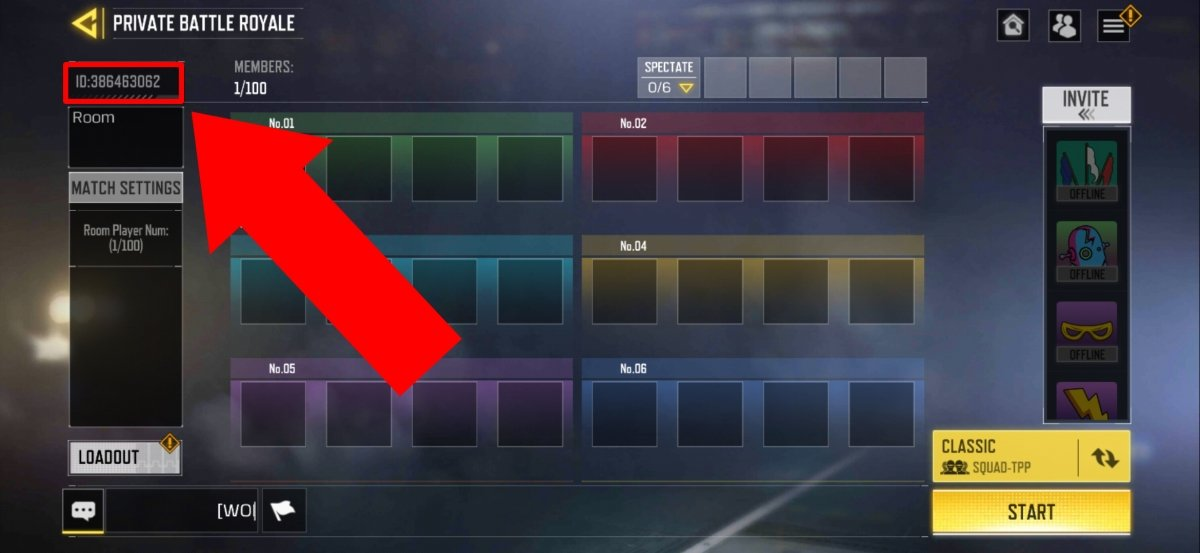 The game ID is shown on this screen