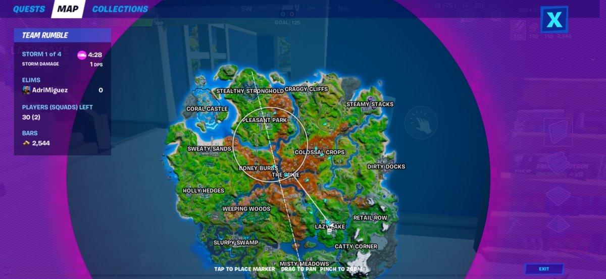 El mapa muestra la distancia real que hay hasta la tormenta