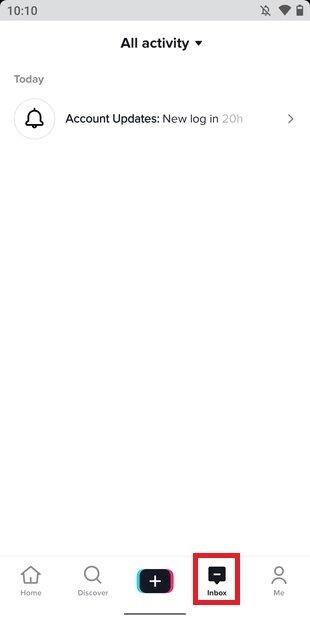TikTok's inbox section