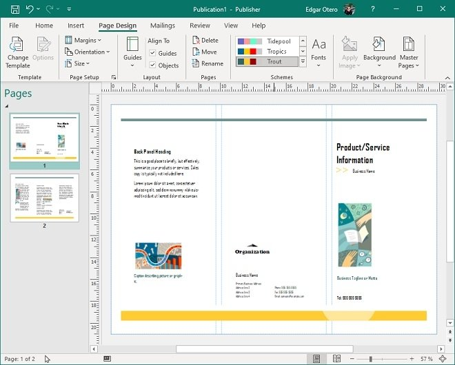 Trifold template in Publisher