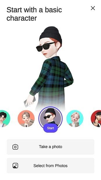 Try out different options to create your avatar