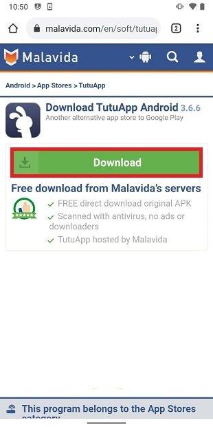Onglet de téléchargement TutuApp sur Malavida