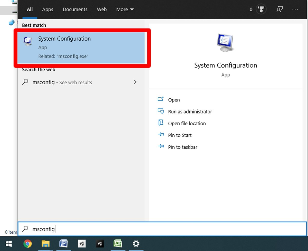 Type in msconfig and press on System Configuration