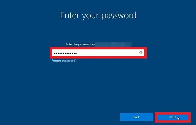 Type in the password for your Microsoft account
