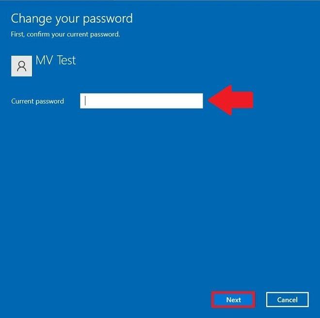 現在のパスワードを入力する