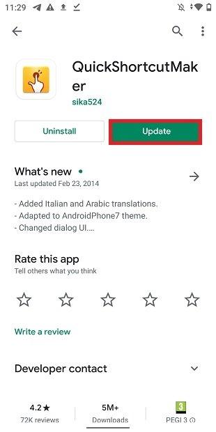 Pulsante di aggiornamento in Google Play