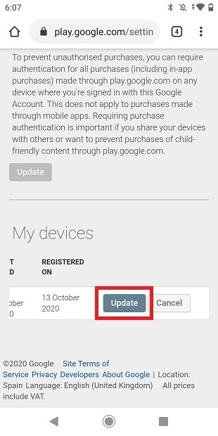 Actualizar nombre del dispositivo