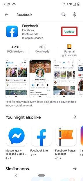 Aktualisierung von Facebook über Google Play