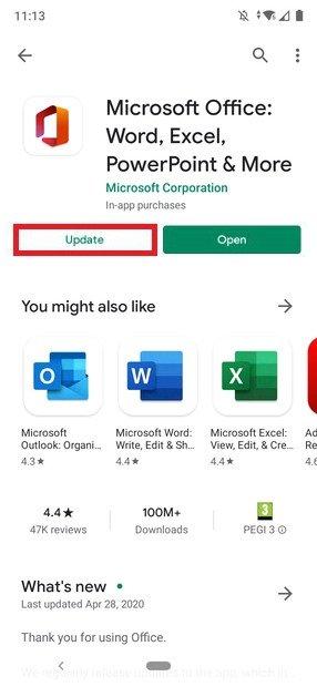 Atualização no Google Play