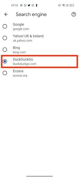 Usare DuckDuckGo