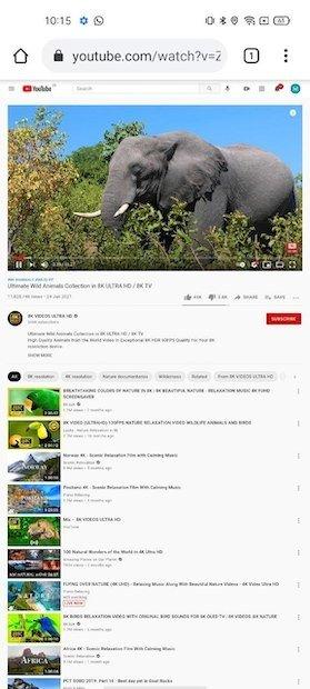 Aspecto del vídeo en el sitio de escritorio