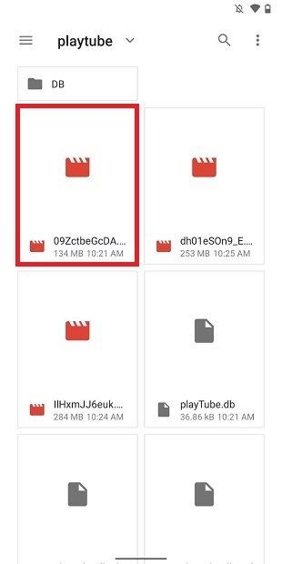 Dossier iTube dans la mémoire