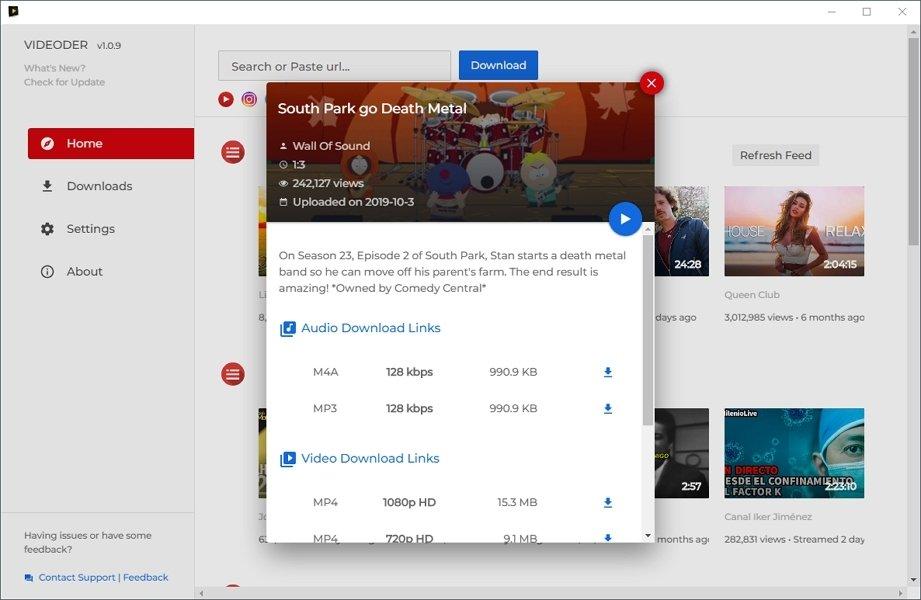 Opciones de descarga en Videoder