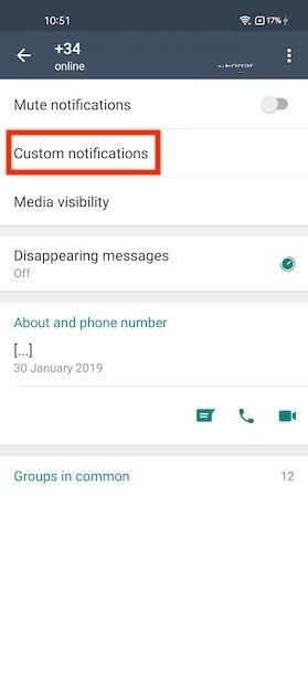 Ver las opciones de notificaciones del contacto